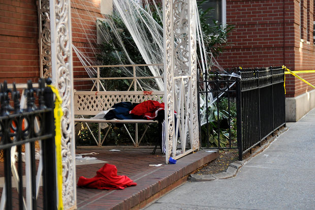 Two 17-year-old boys were stabbed in front of 310 West 55th Street Tuesday afternoon, police said, Oct. 17, 2017.