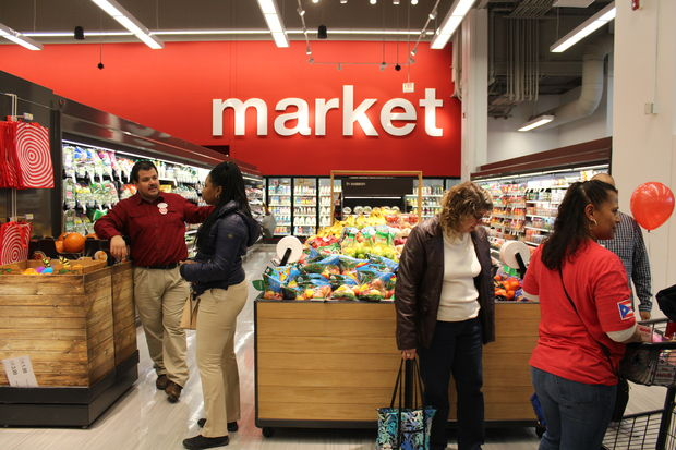 The new Target at 3300 N. Ashland Ave. features a small market that includes fresh groceries.