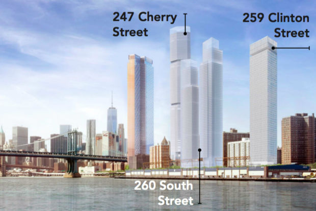Three residential skyscrapers are slated to rise within three blocks on the Two Bridges waterfront.