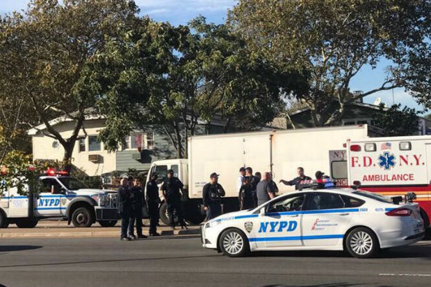 The child was hit at 3:30 p.m. at the corner of Linden Boulevard and Crescent Street, officials said.