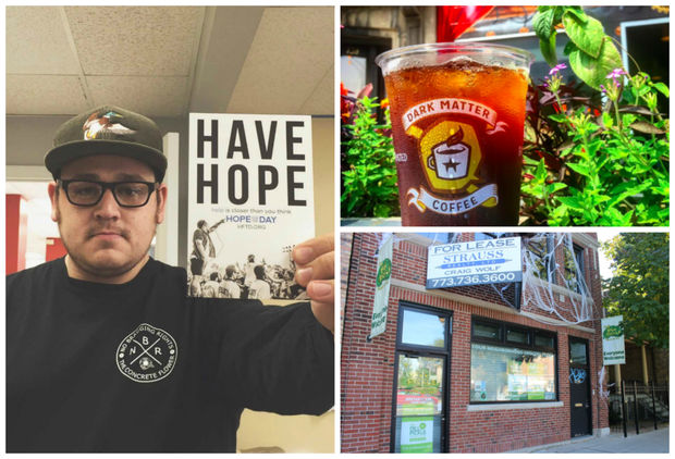 Dark Matter Coffee is teaming up with Jonny Boucher's (pictured on the left) nonprofit, Hope for the Day, on the coffee shop, 3039 W. Fullerton (pictured in the right corner)