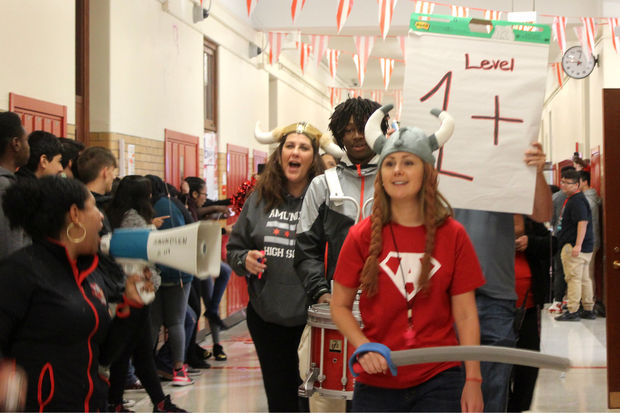 Amundsen administrators were decked out in viking gear as they paraded down the hall to broadcast the epic news: Just three years after being taken off probation, Amundsen had earned CPS's highest Level 1+ rating.