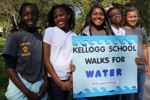 Kellogg Elementary School students in sixth, seventh and eighth grade walked one mile to Beverly's Ridge Park Friday. The group raised nearly $3,000. The money will be used to rehabilitate three wells in Kenya.