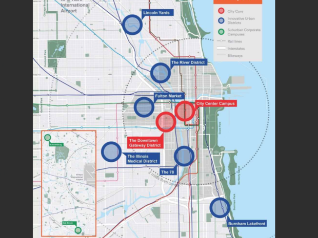 10 Local Amazon Sites Revealed By Rahm, Rauner In Pitch For ... on chicago neighborhood map, chicago airspace map, chicago precinct map, chicago area map, chicago region map, chicago watershed map, chicago district map, chicago tier map, chicago state map, chicago visitors map, chicago elevation map, chicago neighbourhood map, chicago stadium map, chicago topographic map,