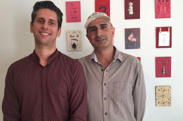 Hi Commerce CEO & founder Pierre Giraud (left) with Park Slope BID executive director Mark Caserta in the Fifth Street space the BID shares with a local art gallery.