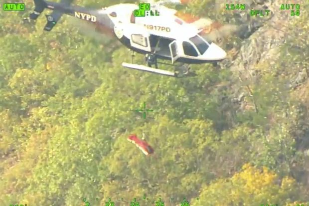 The NYPD's Aviation Unit rescued the hiker on Bear Mountain in Westchester on Sunday.