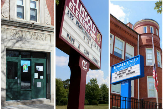Barnard, Clissold and Esmond elementary schools all fell in the latest ratings by Chicago Public Schools.