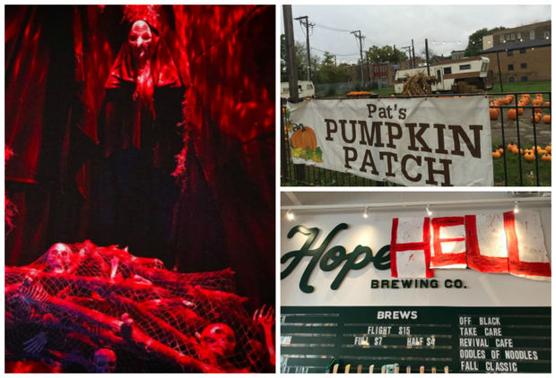 The neighborhood is packed with activities, from a Halloween party at Hopewell Brewing (pictured bottom right) to Emporium's Haunted House (pictured left).