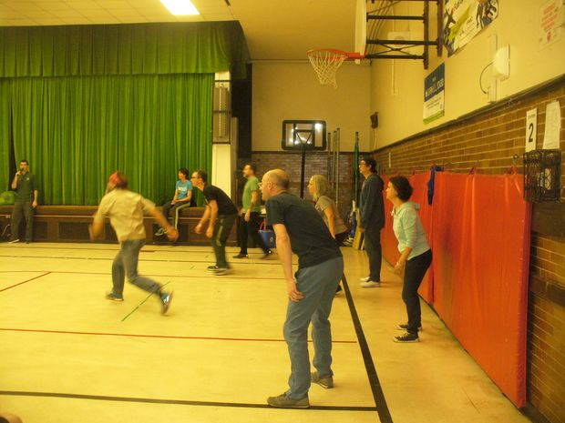 A scene from a past adult dodgeball tournament at Columbus School.