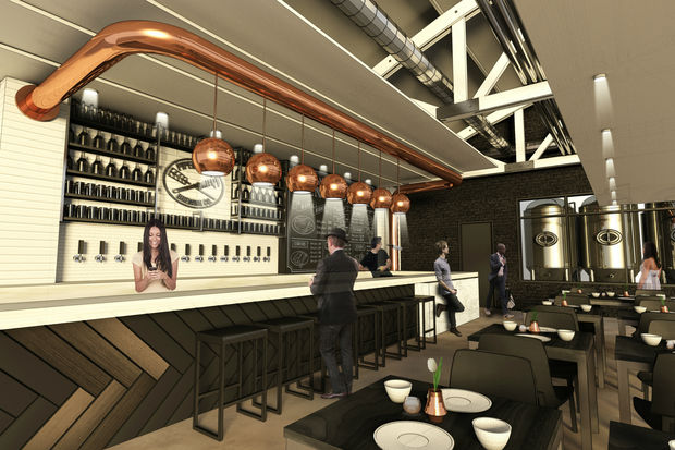 An early rendering of the brewpub's interior