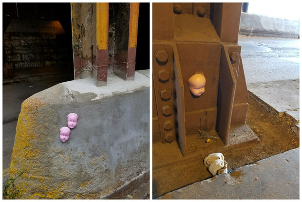 Doll heads have been spotted in the 1200 block of West Augusta Boulevard and on a concrete barrier by the Armitage Avenue Kennedy Expy. exit.