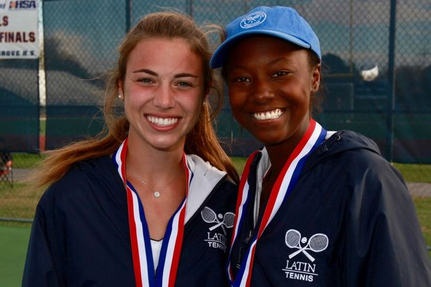 Annabel Edwards and Maya Seymore of the Latin School are the state's doubles tennis champs.