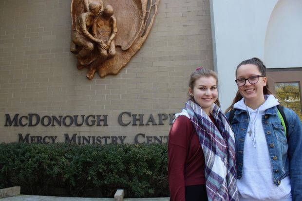 Ciara Nichols (left) and Tara Luczak are both involved with Campus Ministry at Saint Xavier University in Mount Greenwood. An online petition calls out the university on plans to move the student ministry offices away from McDonough Chapel.