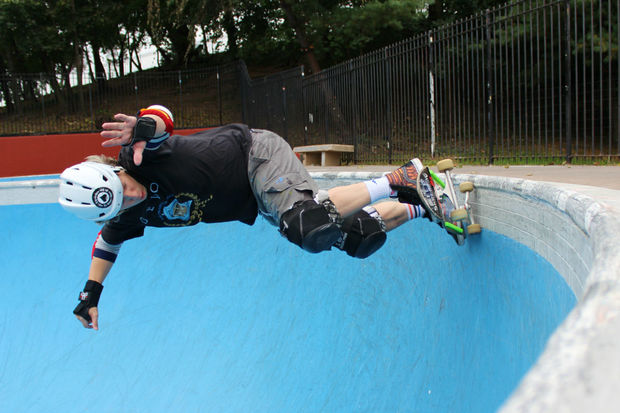 Blake Sandberg skates in Owls Head Park's bowl.