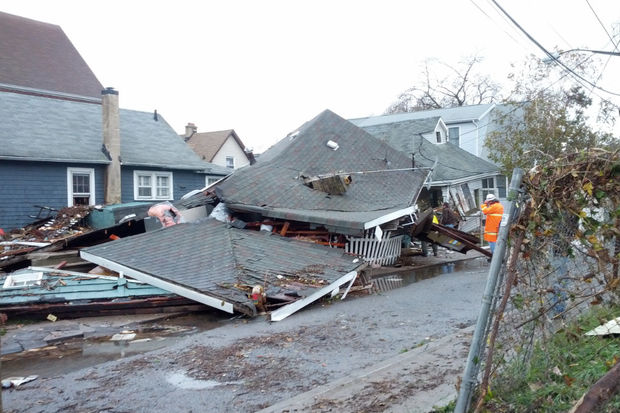 A home crushed during Hurricane Sandy. The city spent one of the largest shares of its federal aid on housing recovery from the 2012 storm.