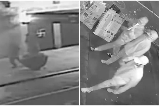 Police were looking for three men that vandalized the Sutton Place Synagogue, they said.