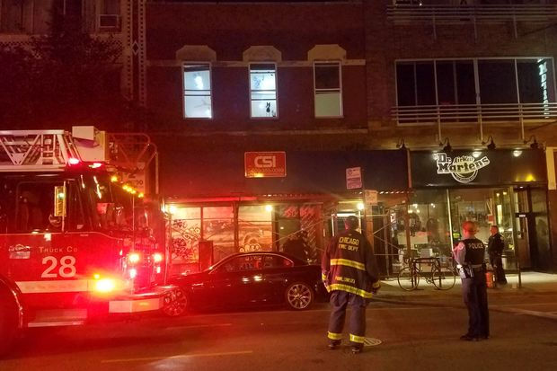 A fire broke out Wednesday night at 1563 N. Milwaukee Ave., in the former American Apparel storefront. No injuries were reported.