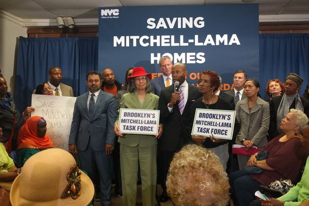 Mayor Bill de Blasio announced $250 million for Mitchell-Lama buildings at the Ryerson Towers complex in Clinton Hill on Thursday.