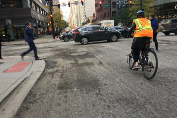 10 blocks of Dearborn Street between the Chicago River and Chicago Avenue are being resurfaced.