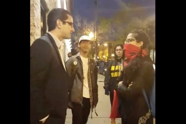 Anti-gentrification activists confront the general manager of S.K.Y. Restaurant, which is opening next month on 18th Street.