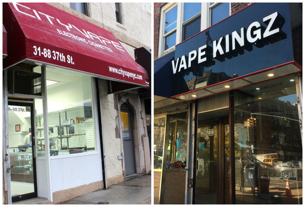 City Vape, left, at its old location on 37th Street (the store is now located at 29-20 23rd Ave.) is suing rival store Vape Kingz at  36-20 30th Ave.