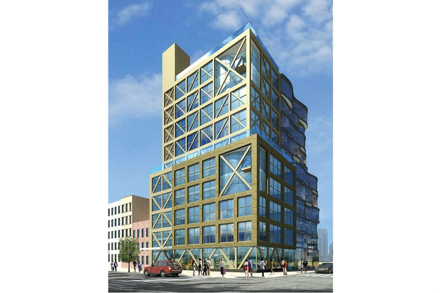 A rendering of the 10-story building Chun Woo Realty Corp plans to build at the corner of West 14th Street and Eighth Avenue.