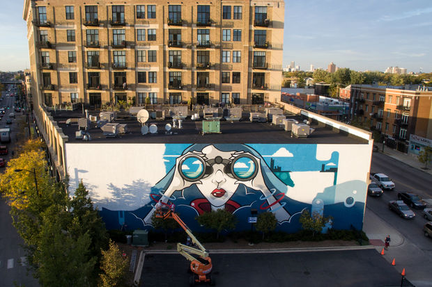 The Lakeview Chamber of Commerce invited artist Anthony Lewellen to create a 4,000-square-foot mural at the intersection of Lincoln, Ashland and Belmont.