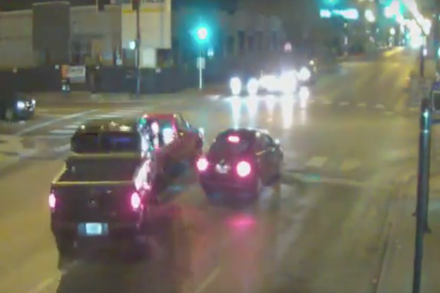 Police released video of a driver of a truck who rammed another truck and dragged it two blocks, killing the other driver in Gage Park early Sunday morning.