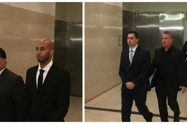 Detectives Richard Hall (at left) and Eddie Martins (standing at left in photo at right) leave court after posting bail Monday morning. The pair have been charged with rape, kidnapping, and a slew of other charges for raping a teenager in Brooklyn in September, prosecutors said.