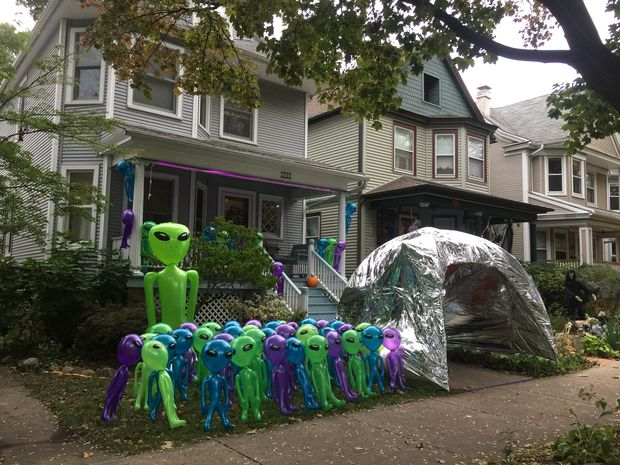 Homes in the 1500 block of West Hood Avenue went all out for Halloween