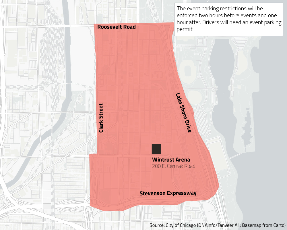 Permit Parking Chicago Map.Parking Restrictions Near Soldier Field And New Wintrust Arena