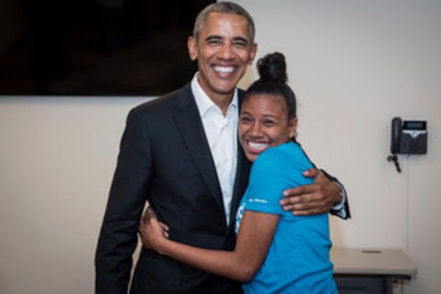 While volunteering as a peer adviser for the Obama Foundation's Training Day program, Breana Brown had the opportunity to meet former President Barack Obama.