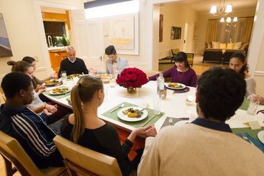 Rahm Emanuel hosted six young undocumented immigrants at his home Wednesday night in response to President Donald Trump's controversial travel ban.