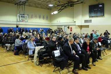 Hundreds of community members packed the gymnasium at Merrimac Park, 6343 W. Irving Park Road, for the unveiling of the school proposal.