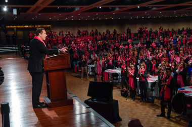 Gov. Andrew Cuomo delivers his speech at a pro-choice rally held in Albany Monday.