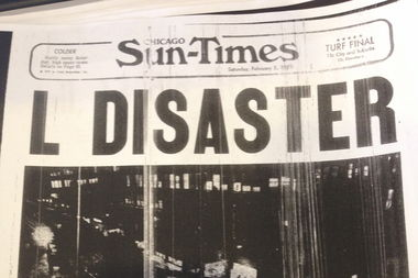 The front page of the Sun-Times reported the CTA crash in February of 1977.