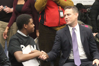 Cubs President Theo Epstein said after sitting in on a Becoming a Man session at Hyde Park Academy that he wants to support the program.
