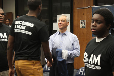 Mayor Rahm Emanuel is trying to raise $36 million for the Becoming a Man program in three years.
