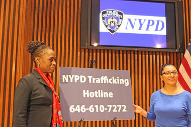 First Lady Chirlane McCray, left, promoted the NYPD's 24-hour hotline for reporting potential human trafficking.