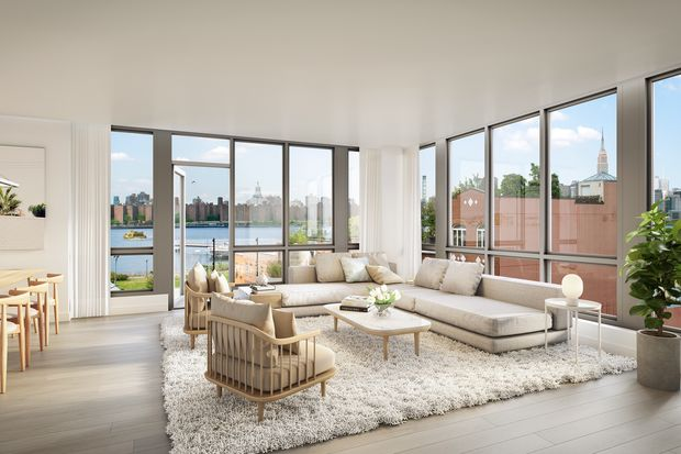A rendering of a living room at Greenpoint's new condo, 50 Greenpoint., where units will range from $699,999 for one-bedrooms to $1.55 million for three-bedrooms.