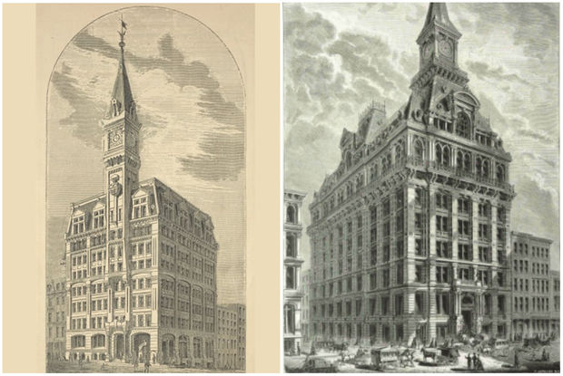 At heights of 260 and 230 feet respectively, the Tribune and Western Union Buildings were constructed in 1874 and remained in New York City's top ten tallest buildings through the 1890s.