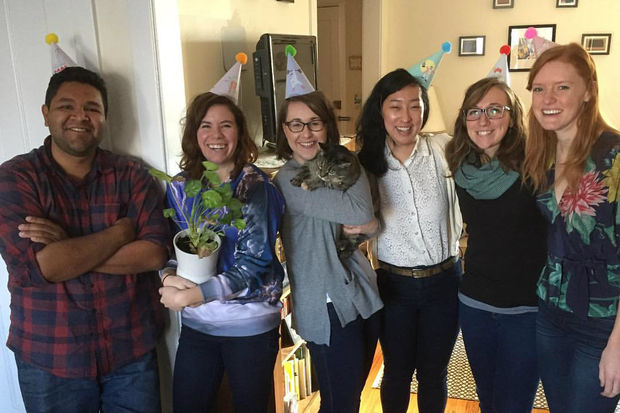 From left: Erik Hernandez of NeighborSpace and Chicago Plant Rescue members Lindsey Telford, Jamie Gentry, Nora Bryne, Jessie King and Christina Henning.