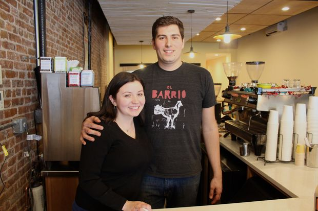 Shanna and Dan Hildebrandt, the husband and wife team behind Uptown Roasters, which opened Wednesday at 355 Seventh Ave. between 10th and 11th streets.