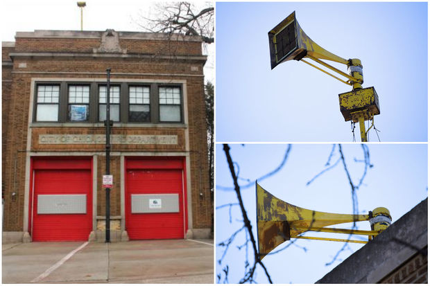 The decommissioned air raid siren at the former Rogers Park fire station, which is now for sale.