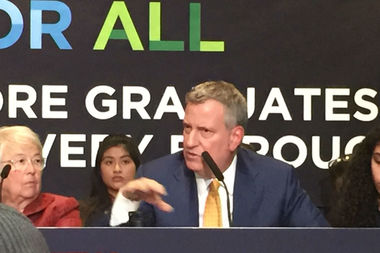 The city's graduation rate has hit an all-time high with 72.6 percent of students graduating in four years compared to 70.5 percent, Mayor Bill de Blasio and Schools Chancellor Carmen Fariña said Friday.