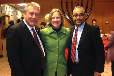 State Sen. Jose Peralta with Councilman Danny Dromm and Borough President Melinda Katz in happier times at a New Visions Democratic Club meeting in 2013.