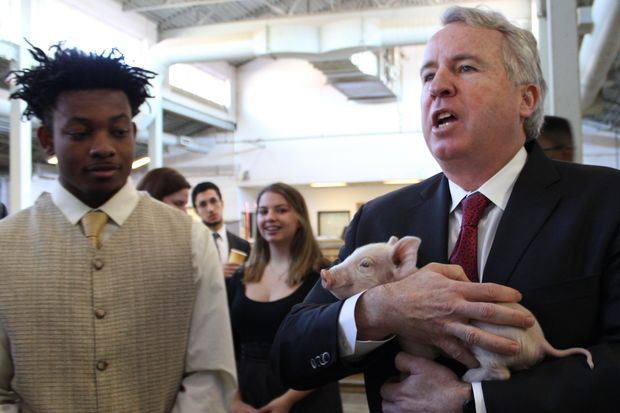 Chris Kennedy, the son of slain U.S. Sen. Robert F. Kennedy and a gubernatorial candidate, visited the Chicago High School for Agricultural Sciences Monday in Mount Greenwood.