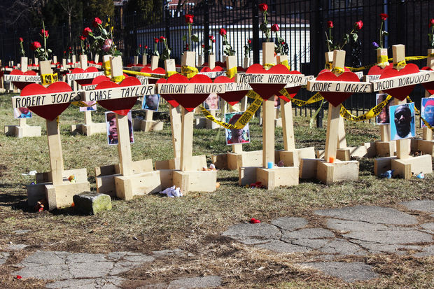 Greg Zanis is displaying his memorial crosses at Northern Illinois University to mark the ninth anniversary of the mass shooting there.