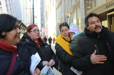 Northwest Side parents and public education advocates speaking out against Noble ITW-Speer Charter High School's proposed expansion at a news conference Monday afternoon.