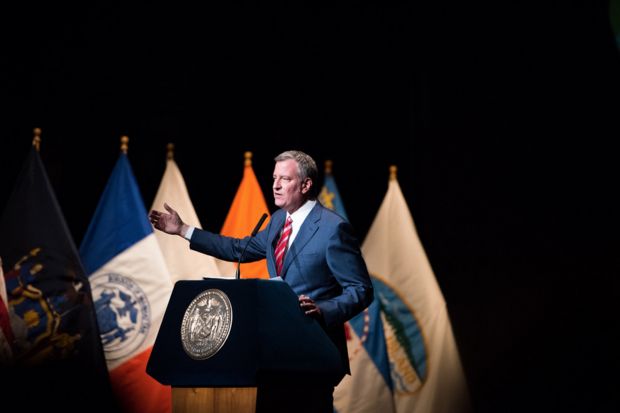 Mayor Bill de Blasio pledged to create 40,000 new jobs over the next four years in a low-key annual State of the City speech at the Apollo Theater on February 13, 2017, that this year kicked off his re-election bid.